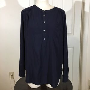 Loft Long Sleeve Blouse Half Button Up